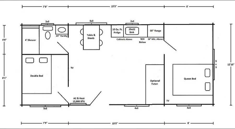 Dogwood Rancher Floor Plan at Wilderness Presidential Resort