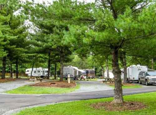 Pull Through RV Site at Misty Mountain Camp Resort