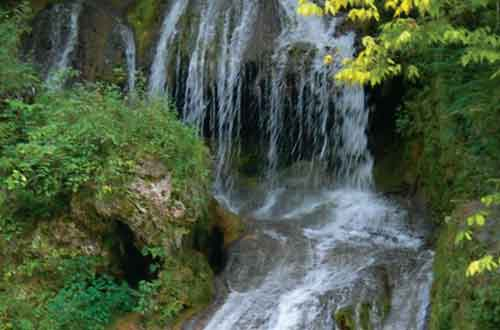 The beautiful waterfall at Shenandoah Campgrounds