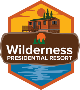 WIlderness Presidential Resort logo emblem with cottage and lake