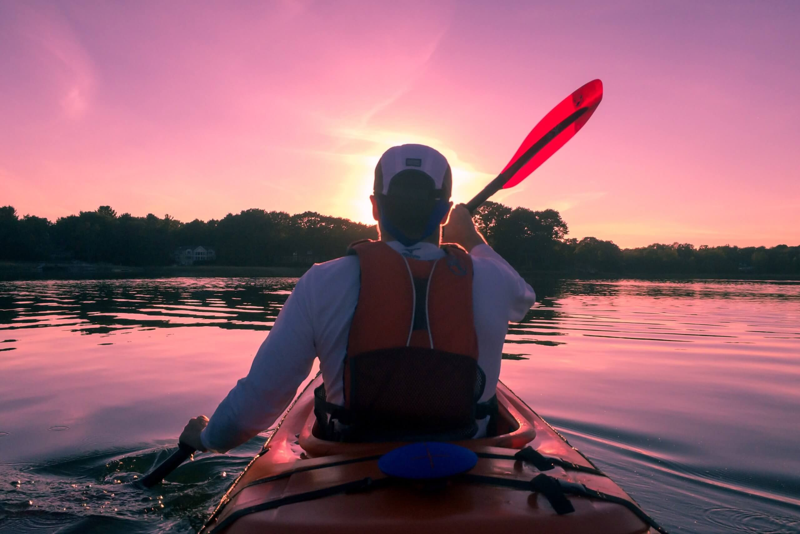 Man Kayaking stock image