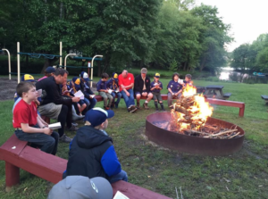 Boy Scouts Meeting Camp Fire