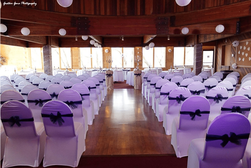 Clubhouse set-up for wedding ceremony