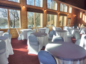 Clubhouse with table and chair coverings