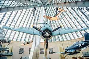 Vintage fighter aircraft hanging from ceiling at Marine Corps Museum