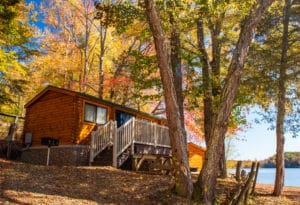 camp cottage on the lake in the Fall