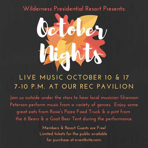 October Nights Music Weekends Flyer