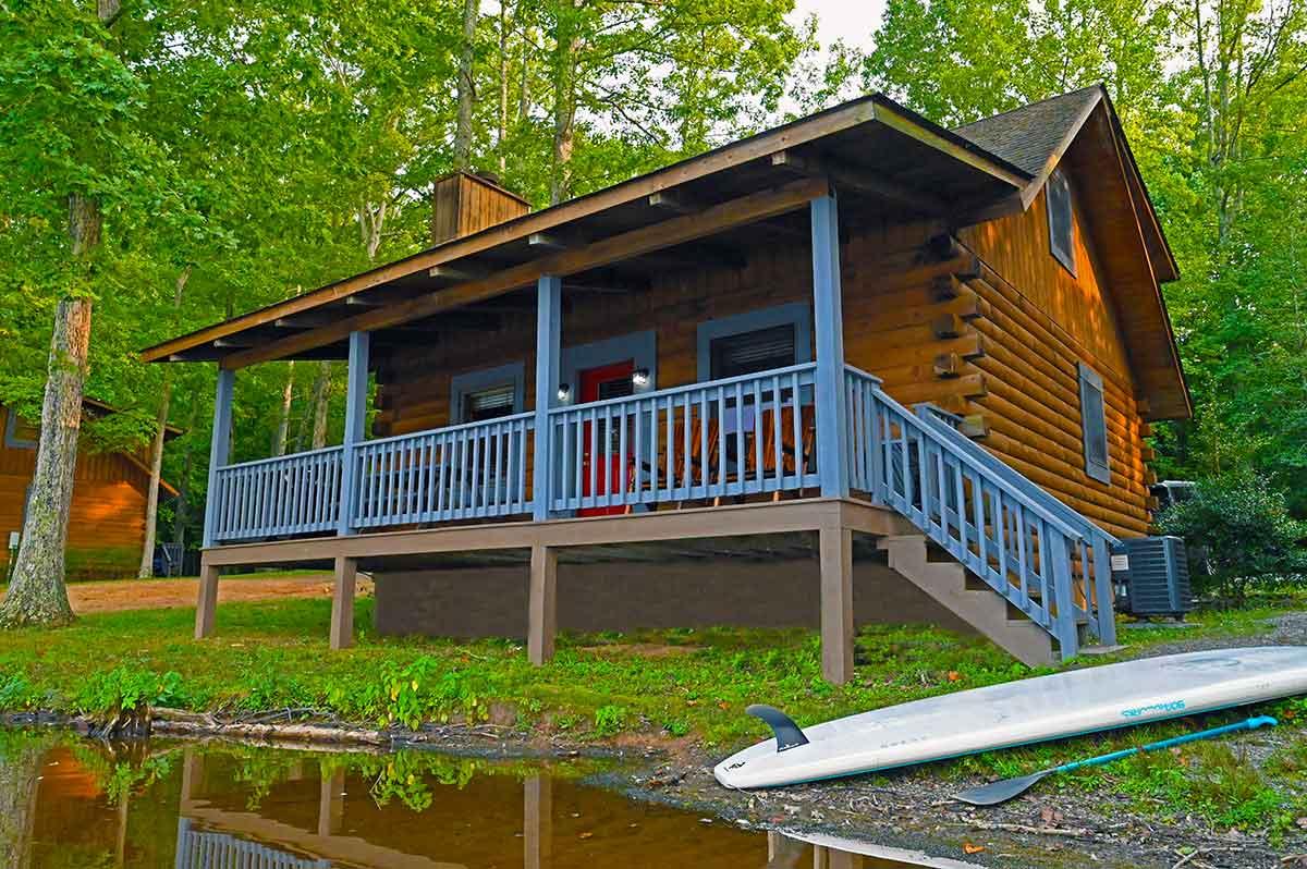 two story rental log cabin waterfront on lake