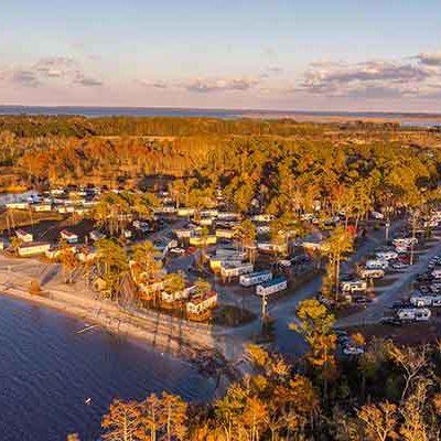 Aerial of RV sites at North Landing Beach RV Resort